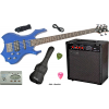 5-Saiter Metal E-Bass in Metal Blue, Set mit 60W Amp. und Stimmg