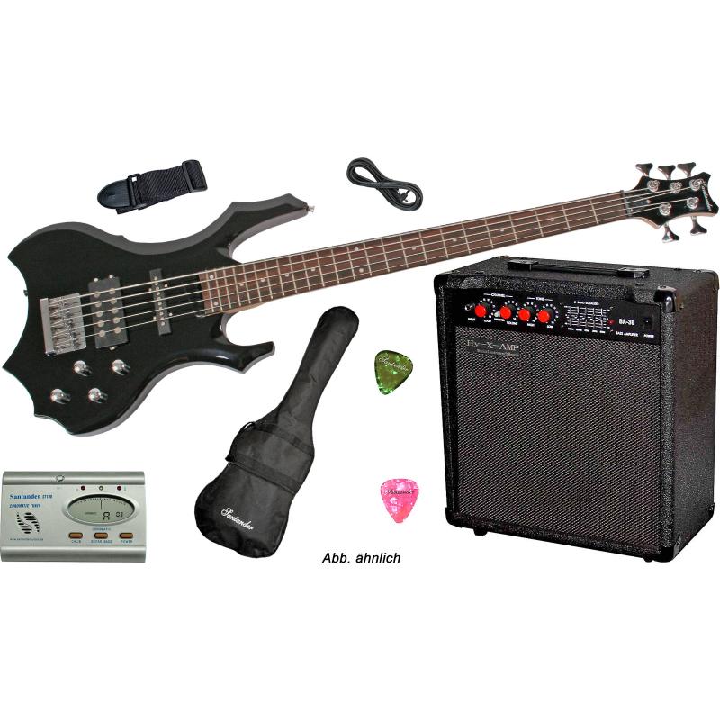 5-Saiter Metal E-Bass in Gothik Black, Set mit 60W Amp. und ...