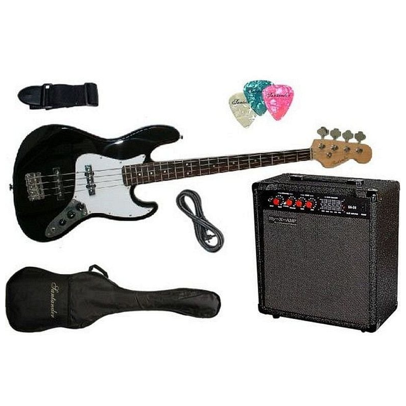 4-Saiter JAZZ E-Bass, schwarz, Set mit 60W Amp. Tasche Kabel Gurt ...